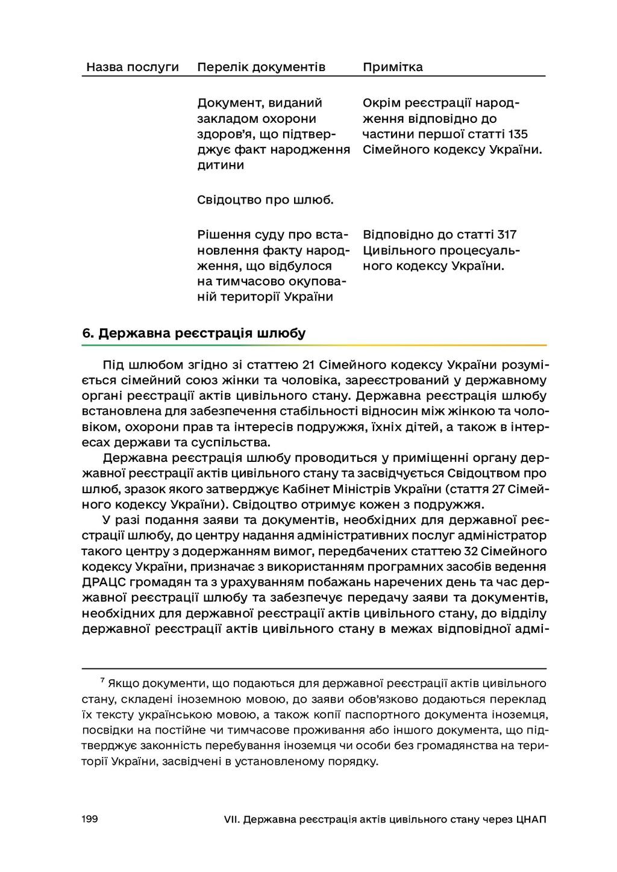 199 VII. Державна реєстрація актів цивільного с...