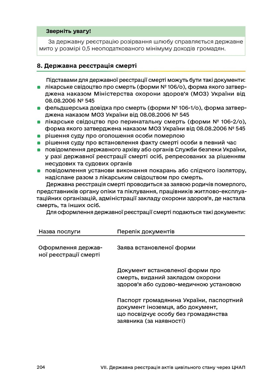 204 VII. Державна реєстрація актів цивільного с...