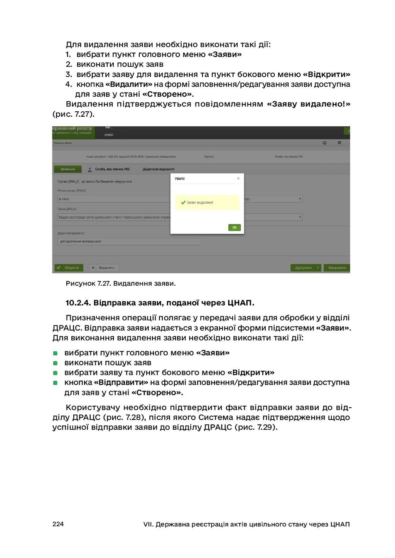 224 VII. Державна реєстрація актів цивільного с...