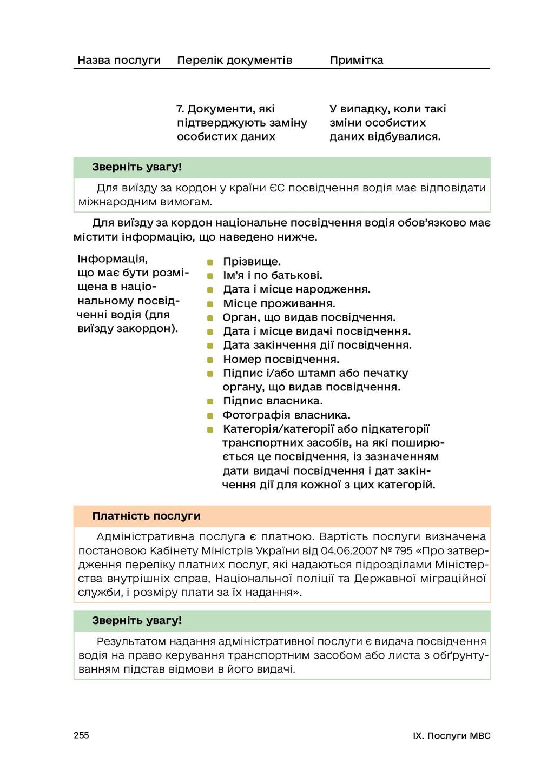 255 IX. Послуги МВС Назва послуги Перелік докум...