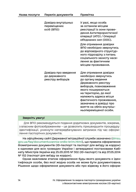74 IV. Оформлення та видача паспорта громадянин...