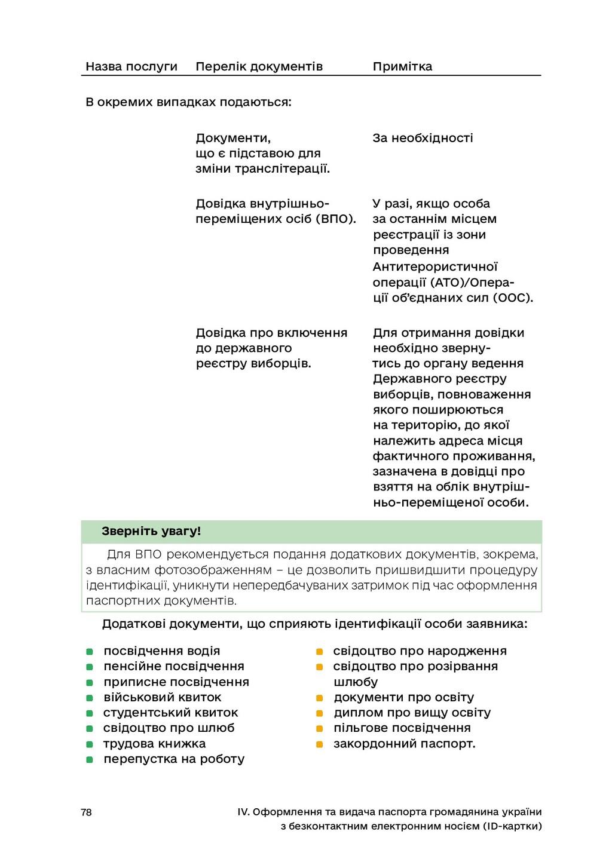 78 IV. Оформлення та видача паспорта громадянин...