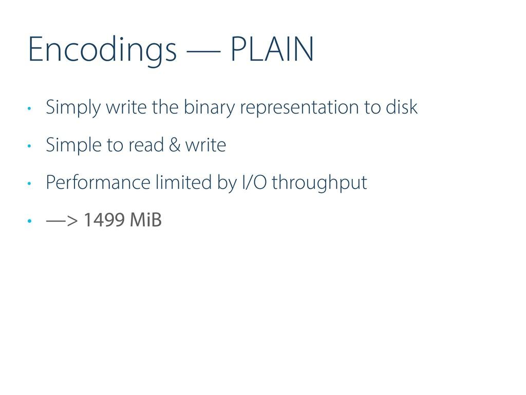 Encodings — PLAIN • Simply write the binary rep...