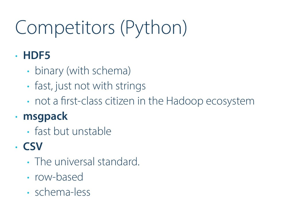 Competitors (Python) • HDF5 • binary (with sche...
