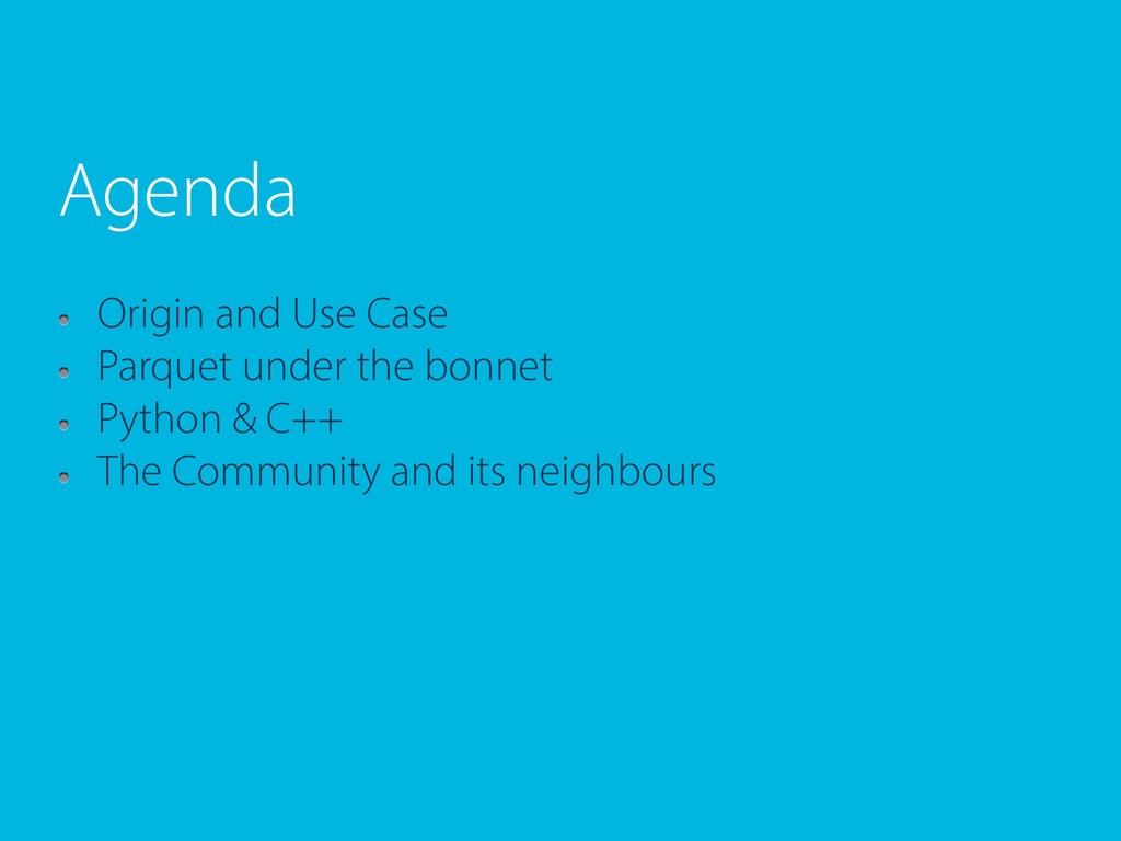 Agenda Origin and Use Case Parquet under the bo...