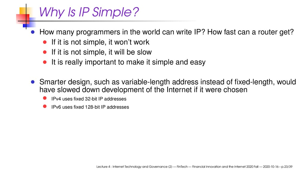 Why Is IP Simple? How many programmers in the w...