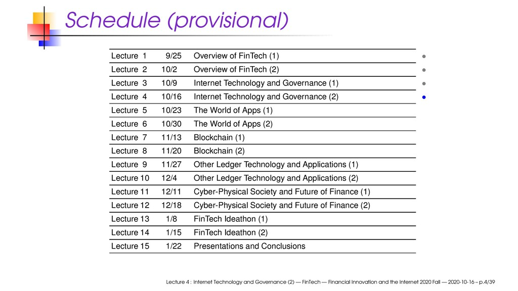 Schedule (provisional) Lecture 1 9/25 Overview ...