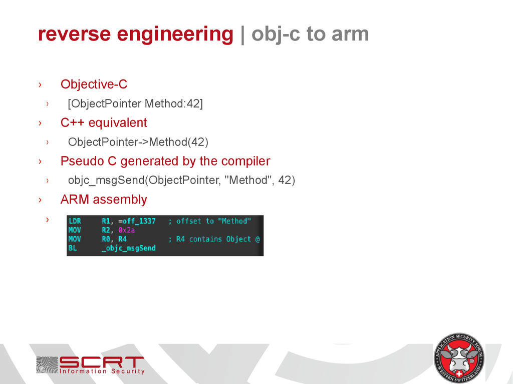 reverse engineering   obj-c to arm › Objective-...