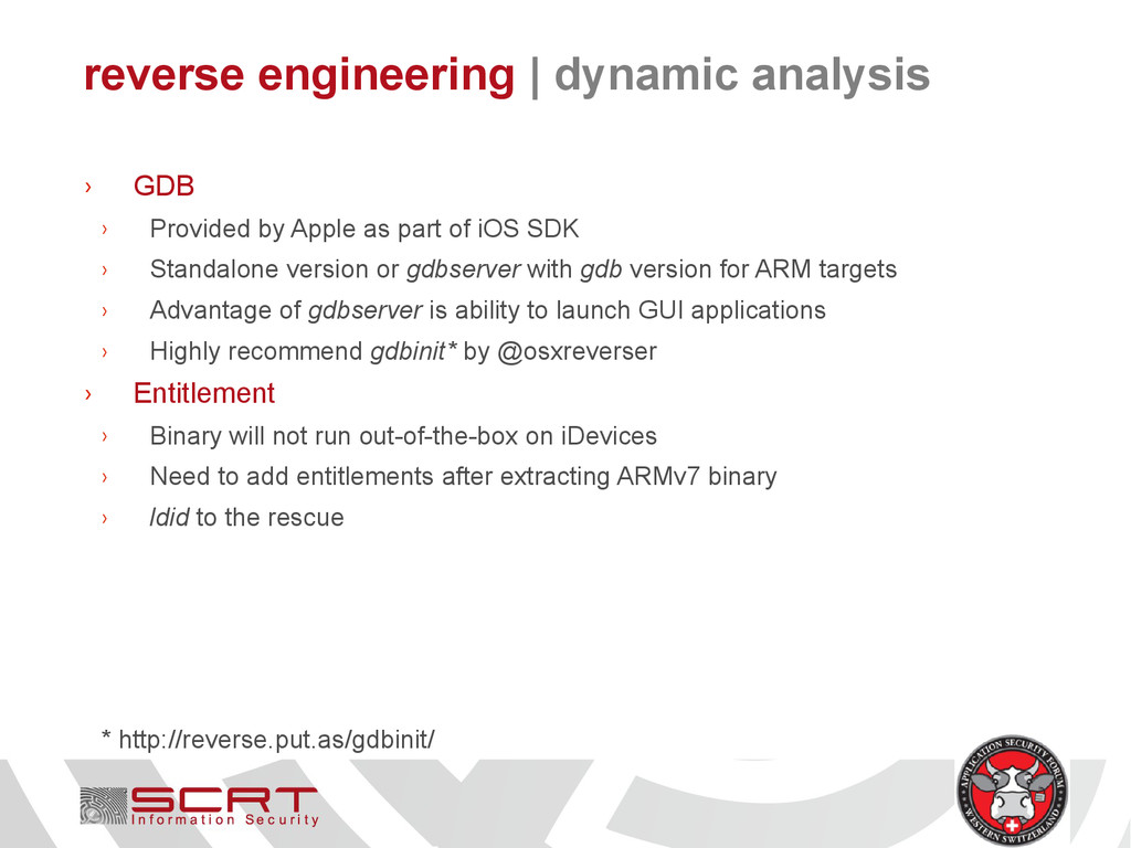 reverse engineering   dynamic analysis › GDB › ...