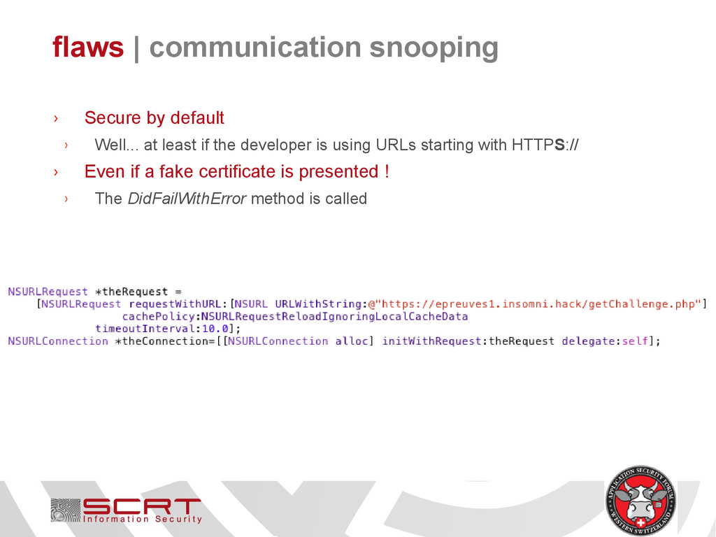 flaws   communication snooping › Secure by defa...