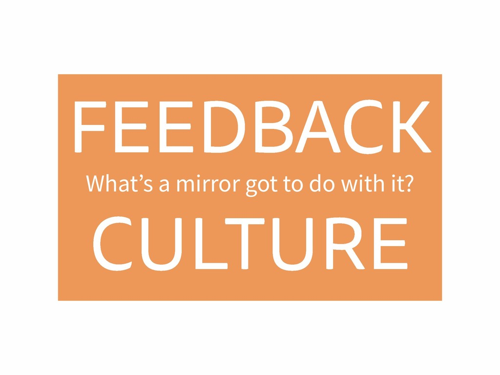 FEEDBACK CULTURE What's a mirror got to do with...