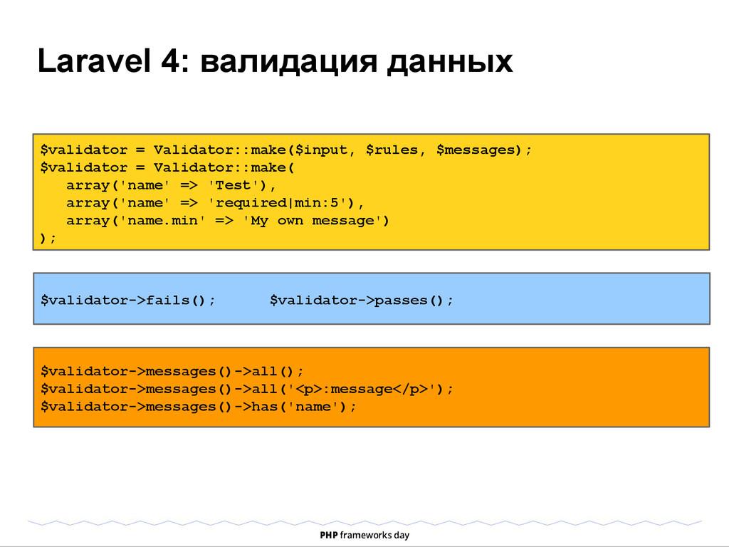 Laravel 4: валидация данных $validator = Valida...