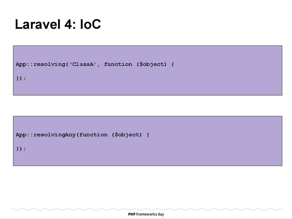 Laravel 4: IoC App::resolving('ClassA', functio...