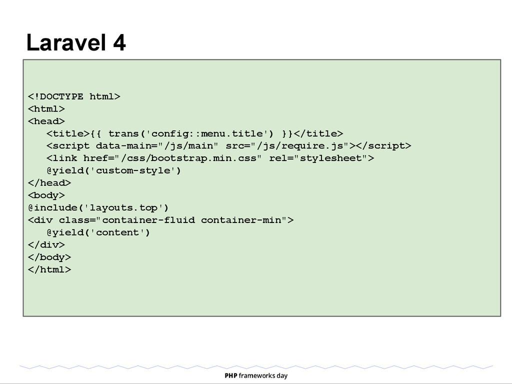 Laravel 4 <!DOCTYPE html> <html> <head> <title>...