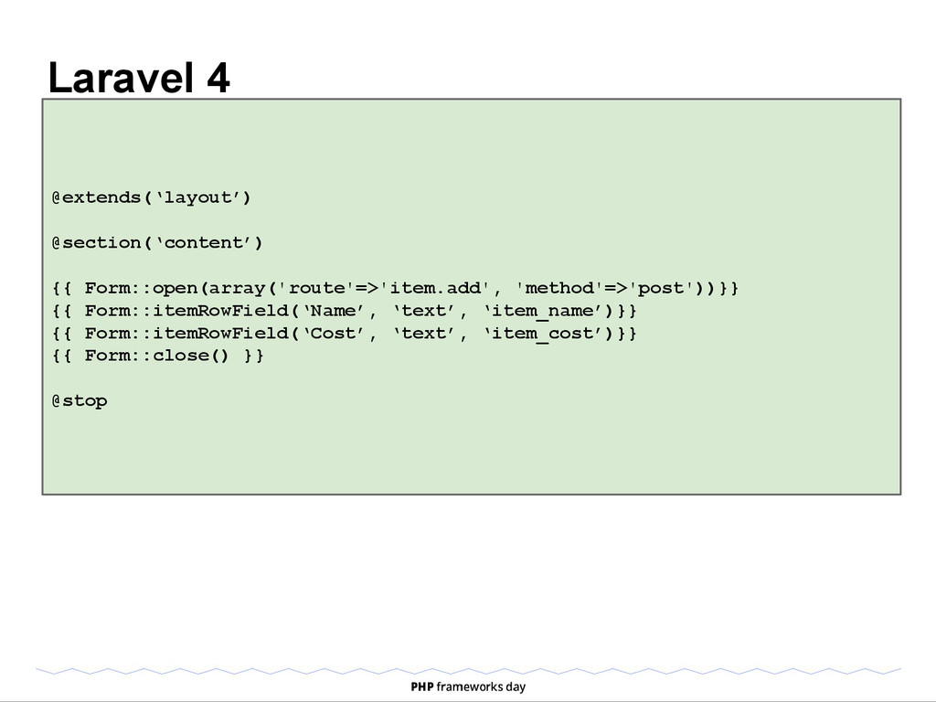 Laravel 4 @extends('layout') @section('content'...