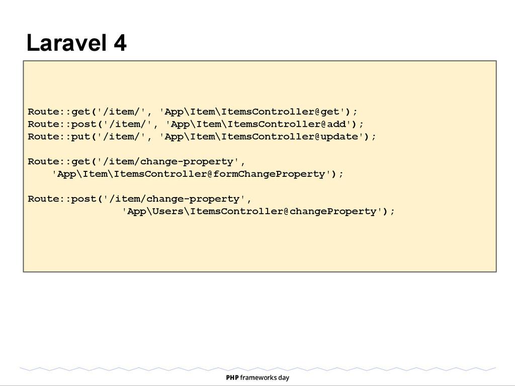 Laravel 4 Route::get('/item/', 'App\Item\ItemsC...
