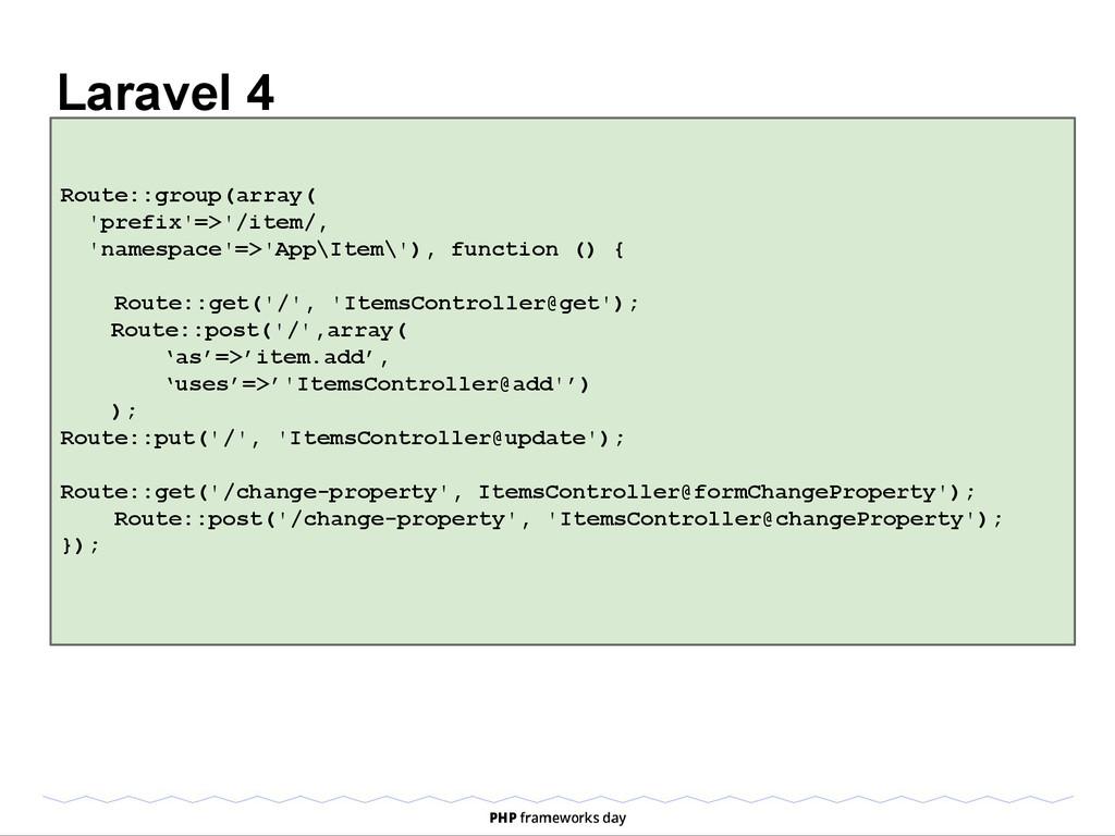 Laravel 4 Route::group(array( 'prefix'=>'/item/...