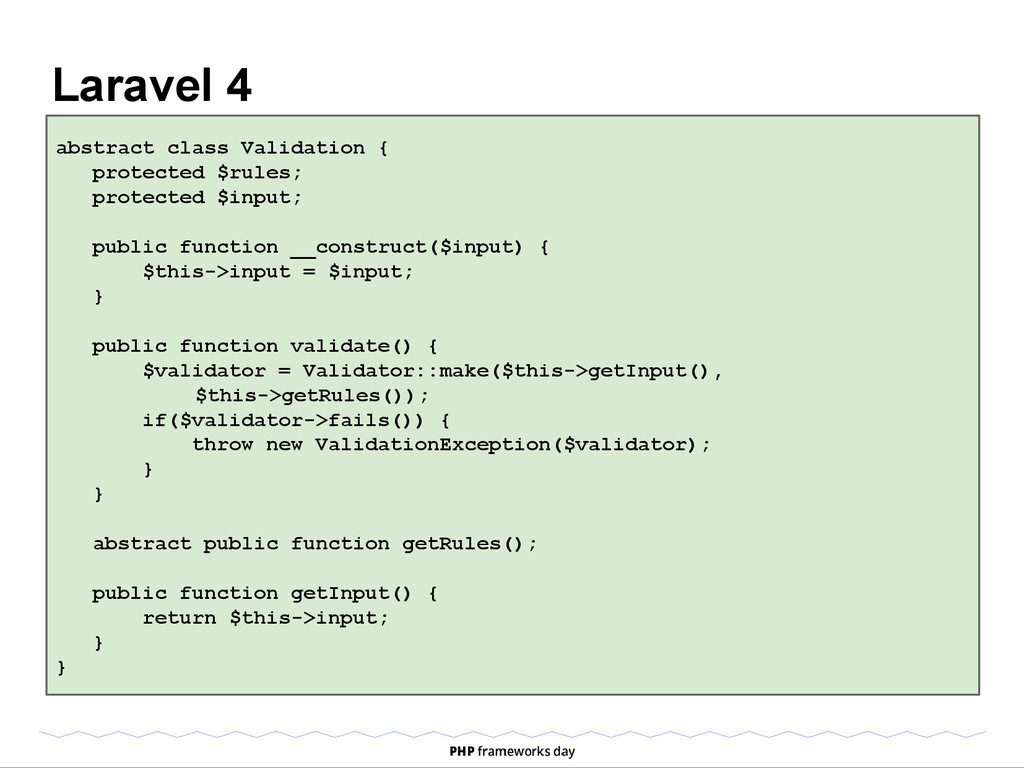 Laravel 4 abstract class Validation { protected...