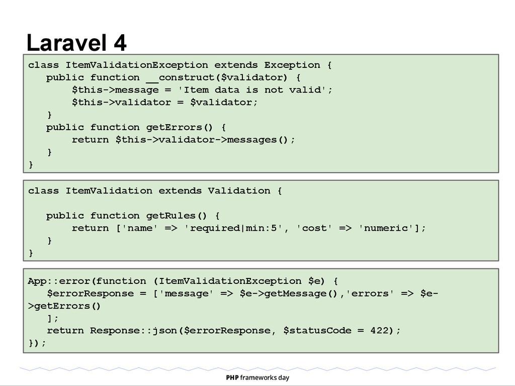 Laravel 4 class ItemValidationException extends...