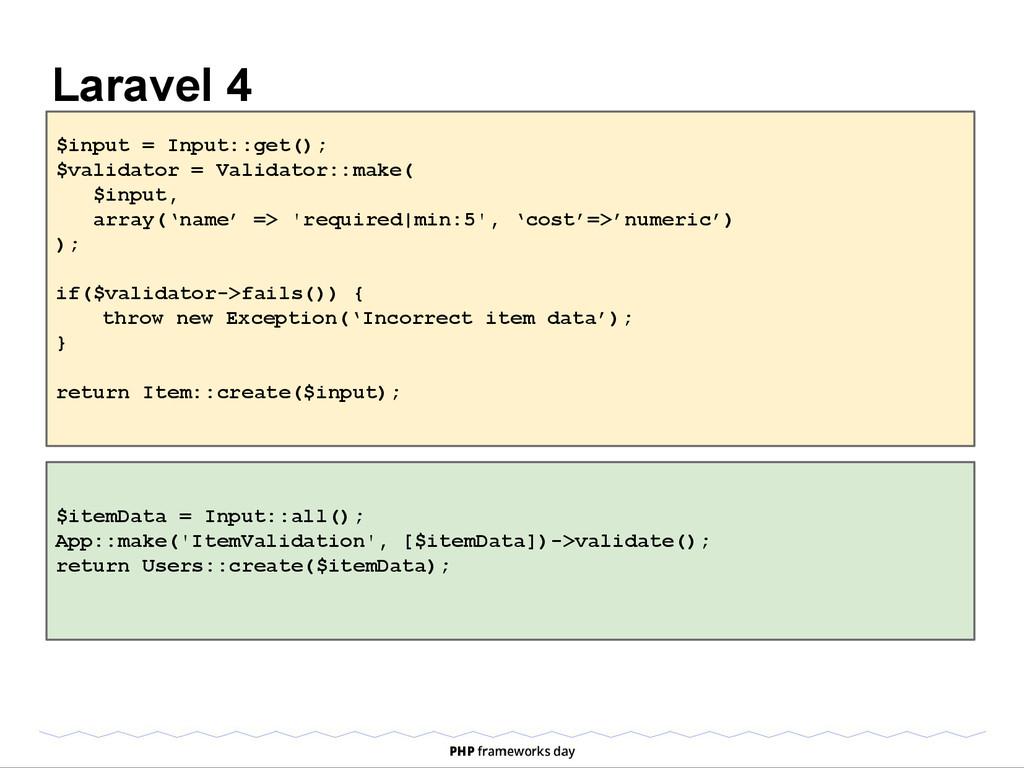 Laravel 4 $input = Input::get(); $validator = V...