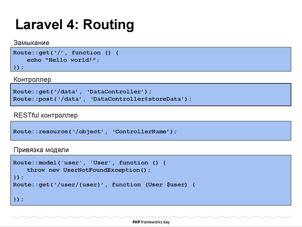Laravel 4: Routing Route::get('/', function () ...