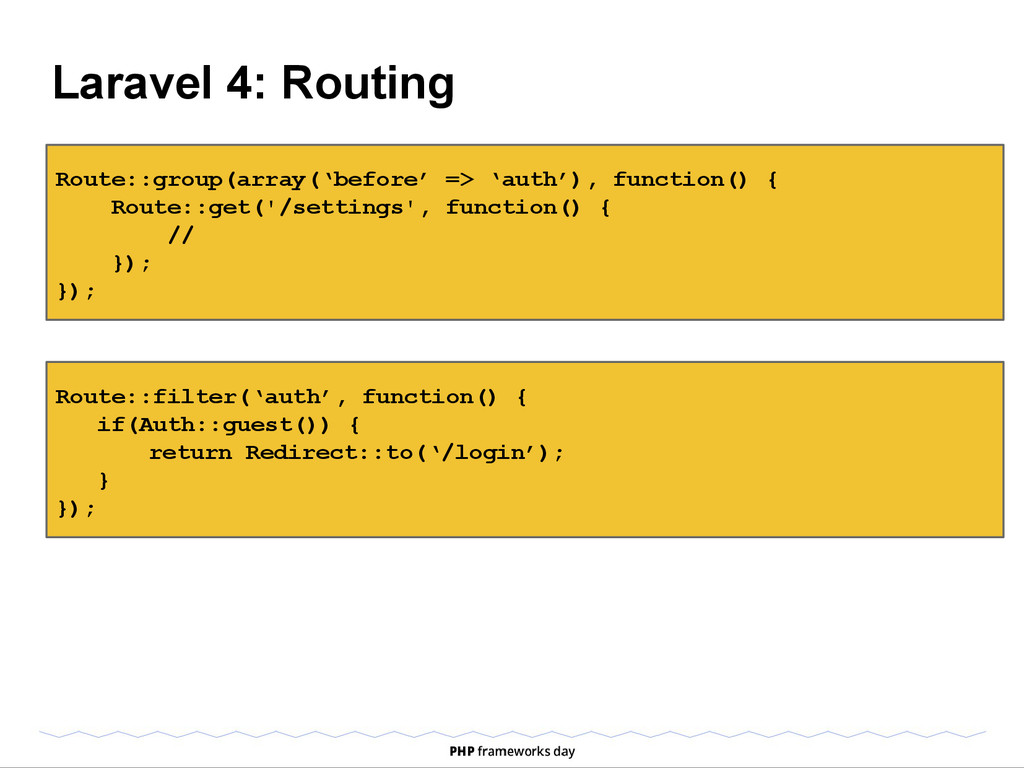 Laravel 4: Routing Route::group(array('before' ...