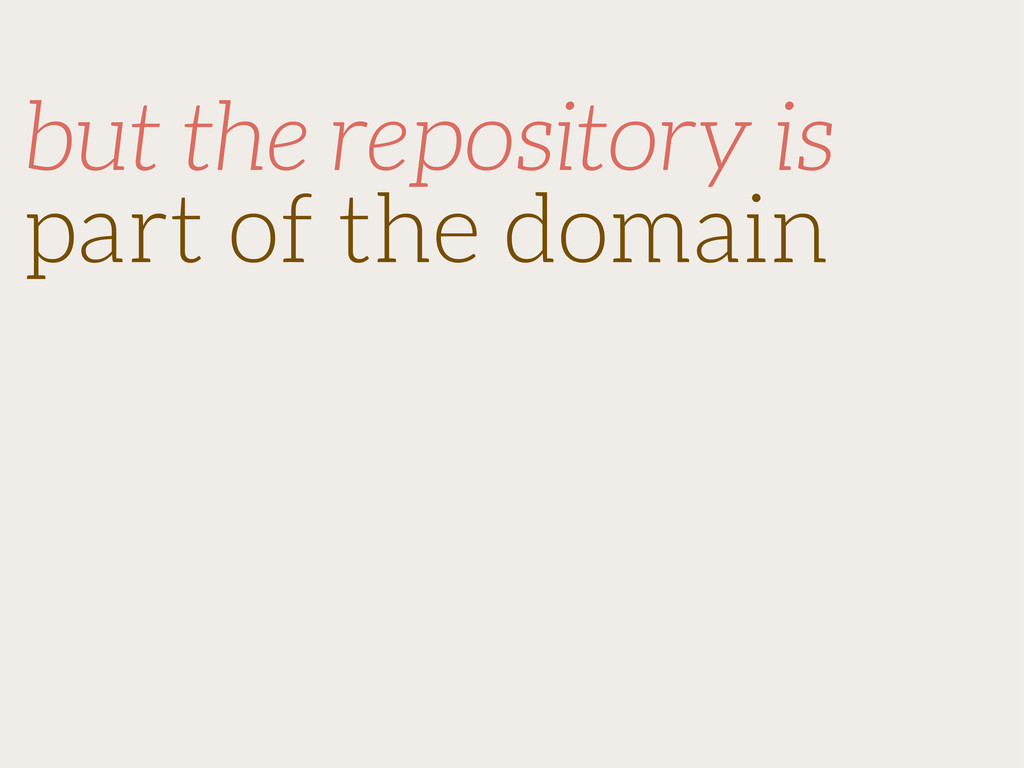 but the repository is part of the domain