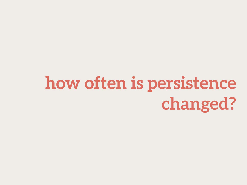 how often is persistence changed?