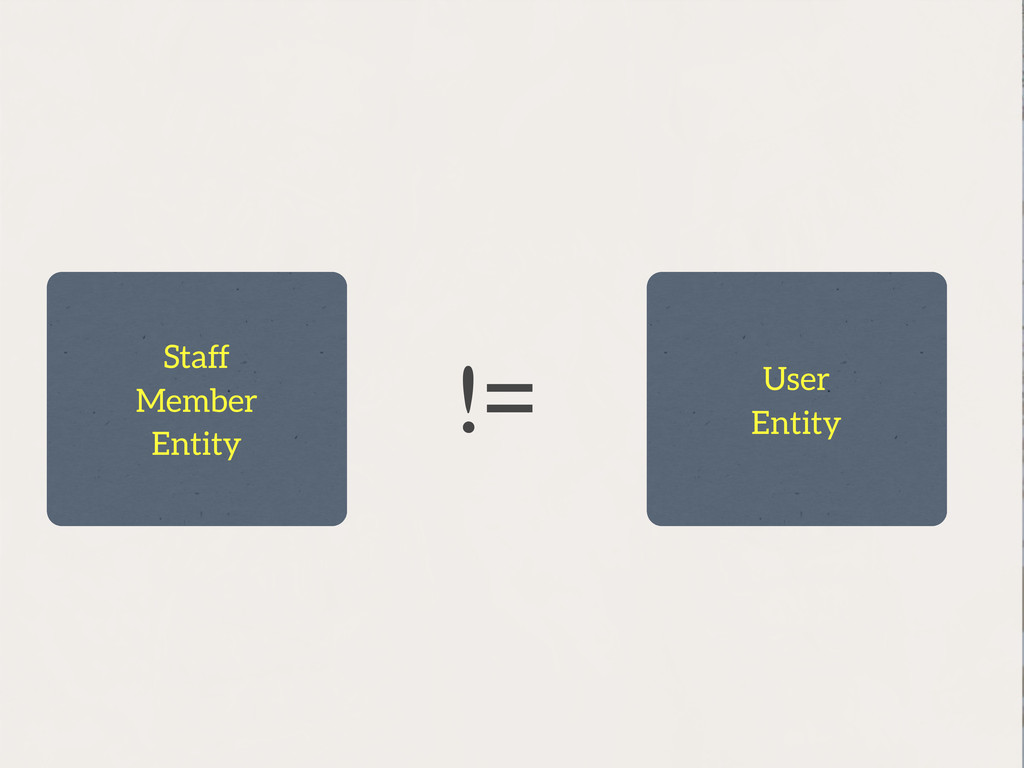 != Staff Member Entity User Entity