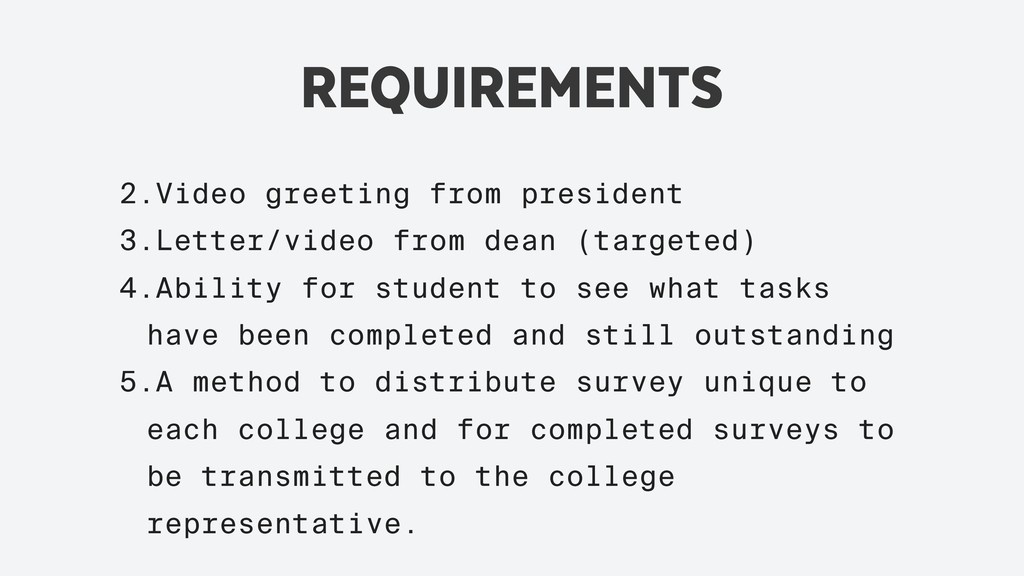 REQUIREMENTS 2.Video greeting from president 3....