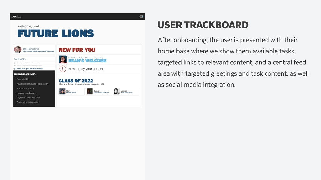 USER TRACKBOARD After onboarding, the user is p...