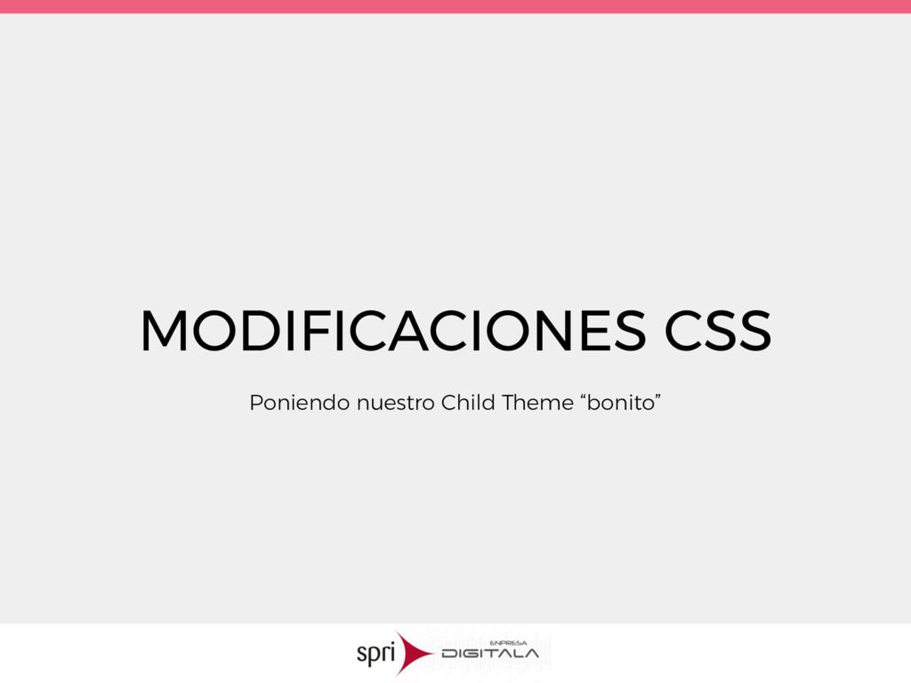 MODIFICACIONES CSS Poniendo nuestro Child Theme...