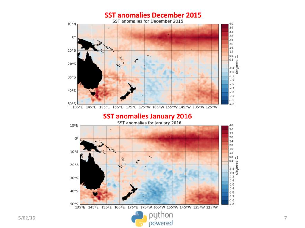 SST anomalies December 2015 SST anomalies Janua...