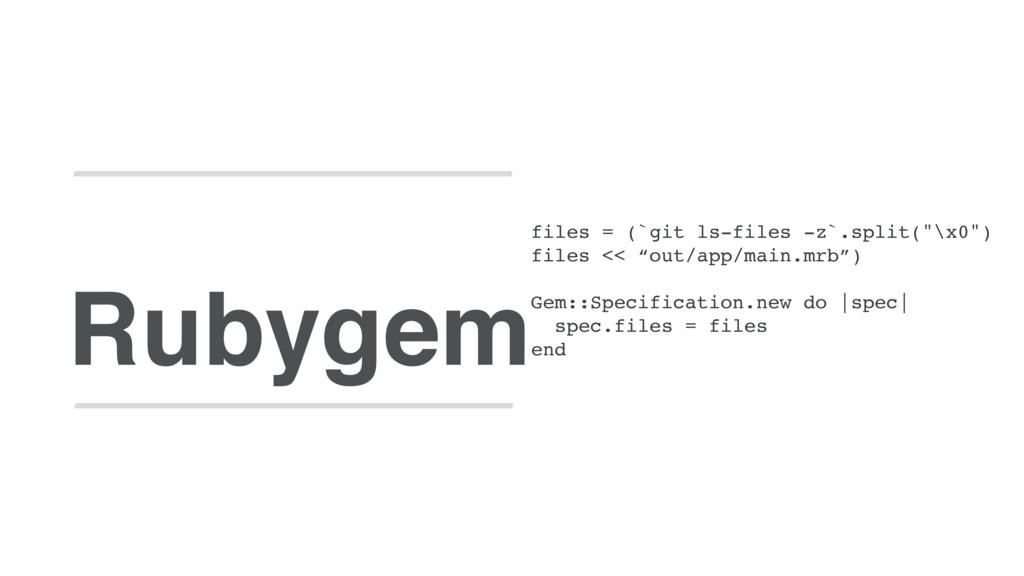 """Rubygem files = (`git ls-files -z`.split(""""\x0"""")..."""