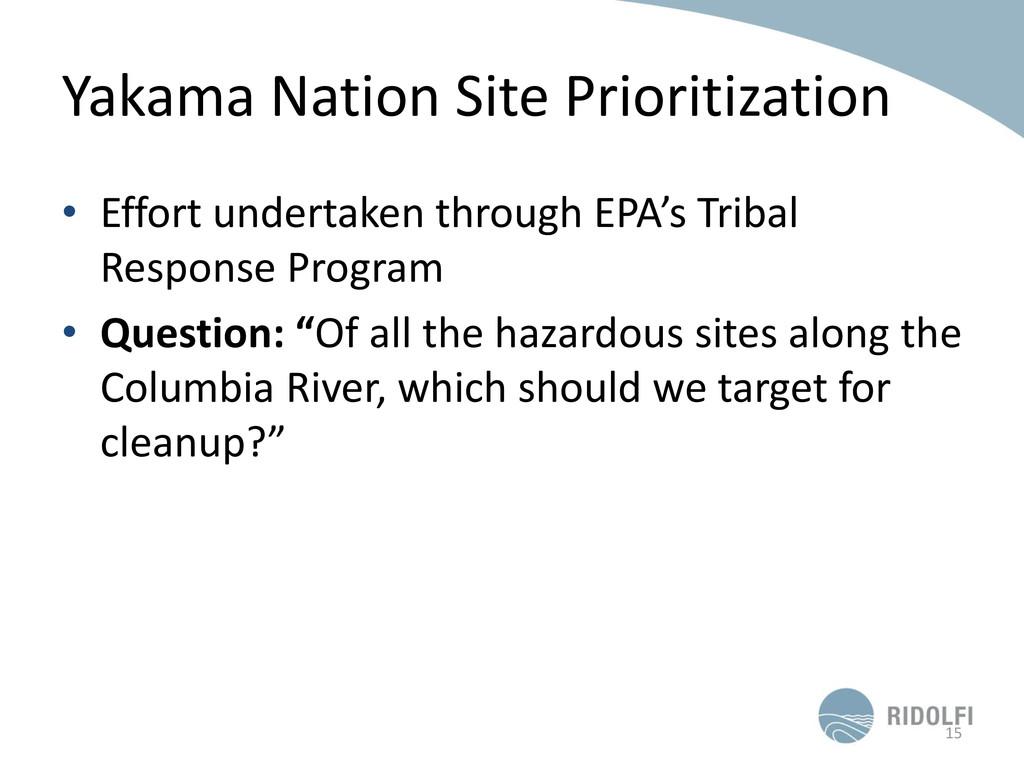 Yakama Nation Site Prioritization • Effort unde...