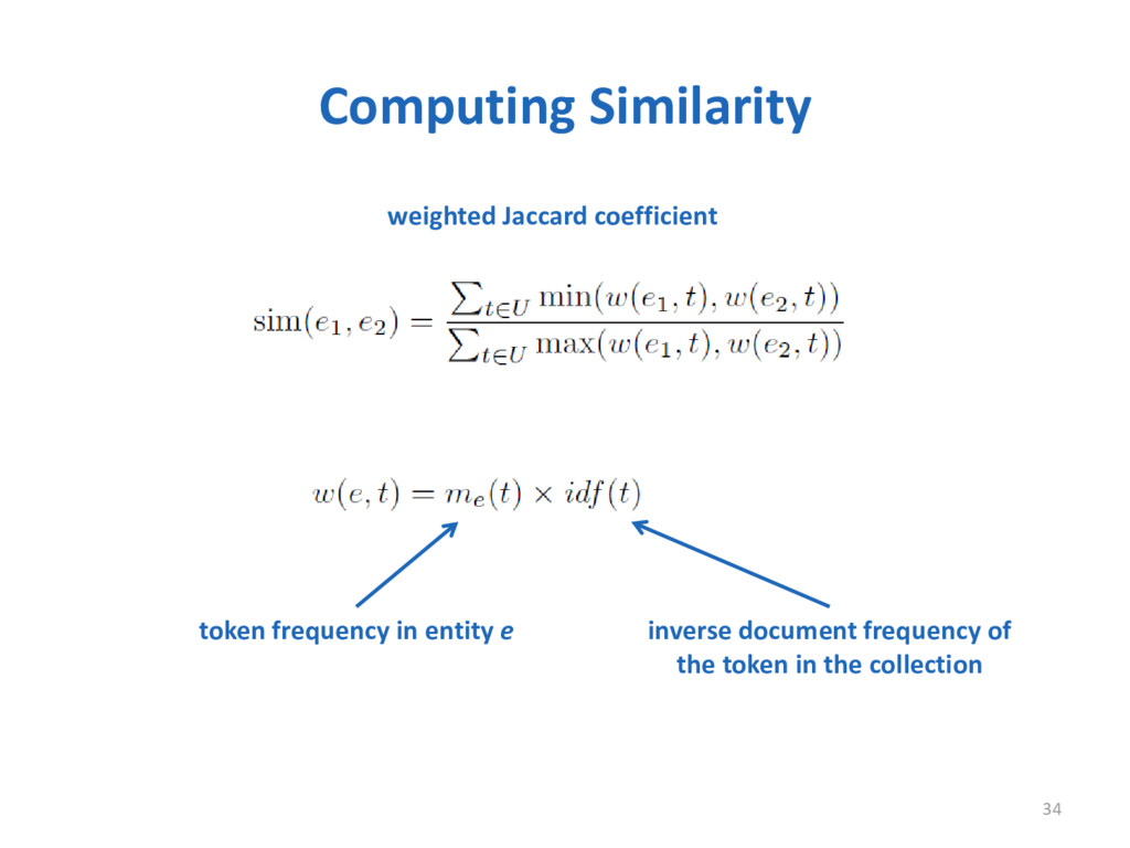 Computing Similarity 34 token frequency in enti...