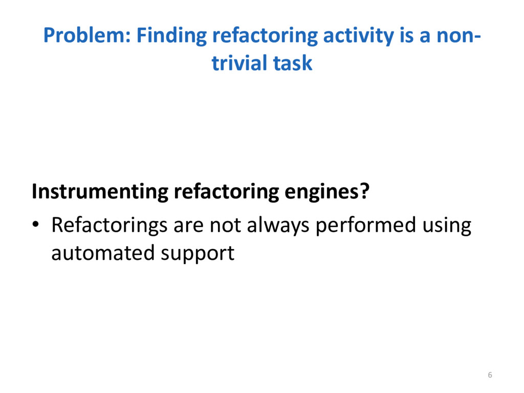 Problem: Finding refactoring activity is a non-...