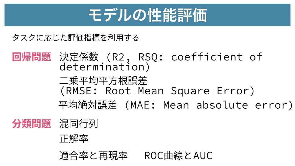 ϞσϧͷੑධՁ タスクに応じた評価指標を利⽤する 回帰問題 分類問題 決定係数 (R2, R...
