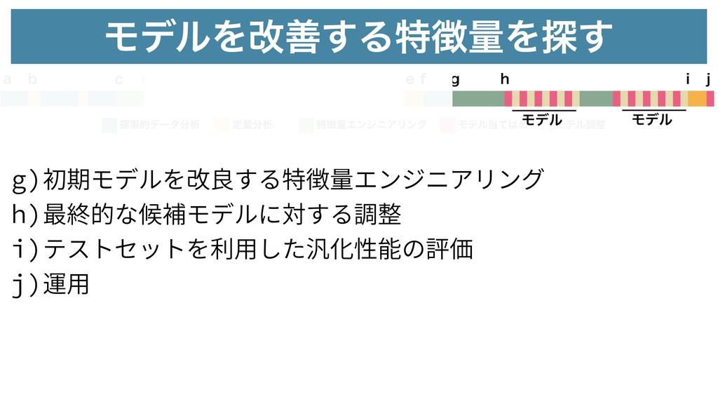 g)初期モデルを改良する特徴量エンジニアリング h)最終的な候補モデルに対する調整 i)テスト...