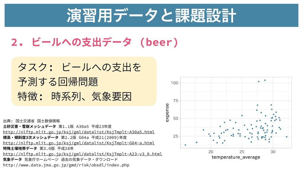 2. ビールへの⽀出データ (beer) ԋश༻σʔλͱ՝ઃܭ タスク: ビールへの⽀出を ...