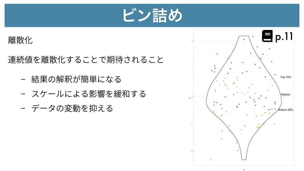 Ϗϯ٧Ί 離散化 - 結果の解釈が簡単になる - スケールによる影響を緩和する - データの変...