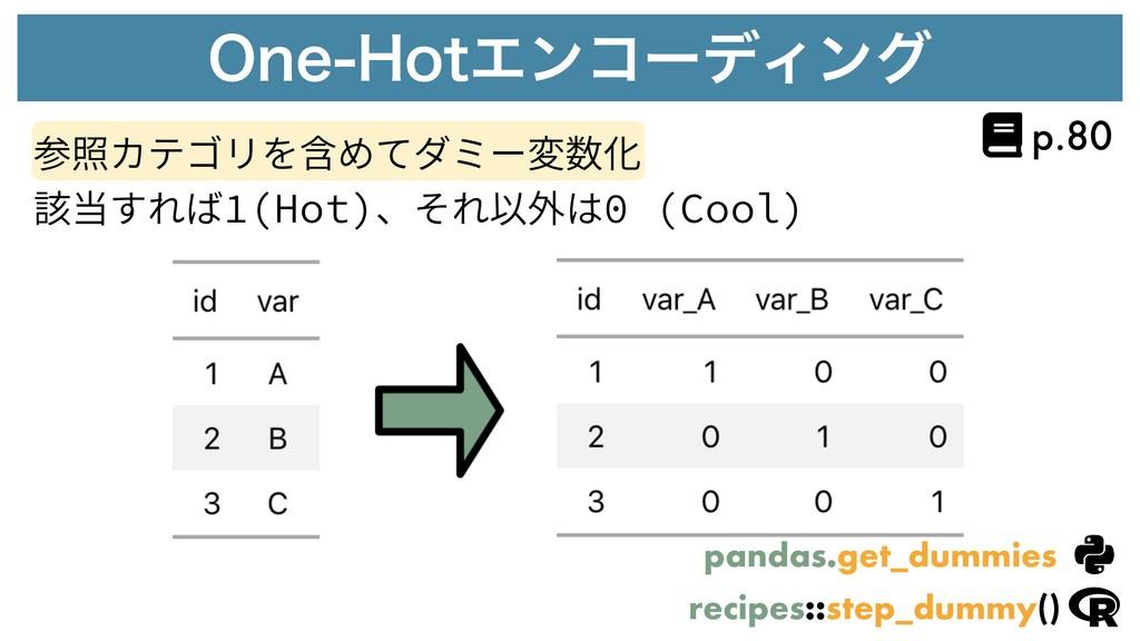 0OF)PUΤϯίʔσΟϯά 参照カテゴリを含めてダミー変数化 該当すれば1(Hot)、それ...