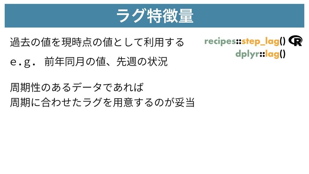 ϥάಛྔ 過去の値を現時点の値として利⽤する recipes::step_lag() e.g...