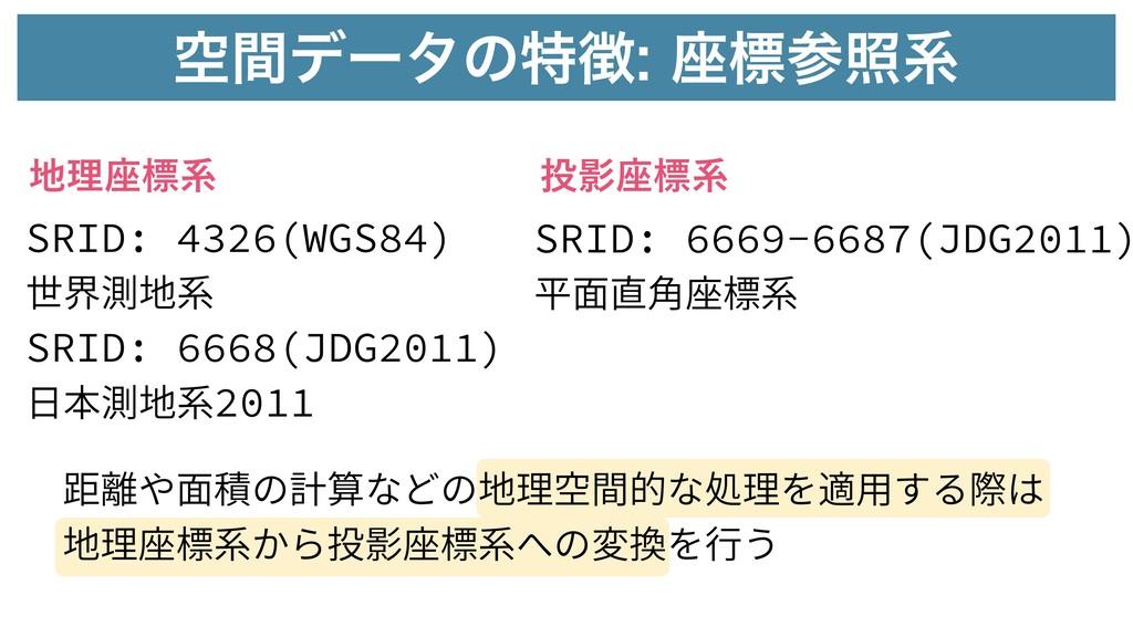 ۭؒσʔλͷಛ࠲ඪরܥ SRID: 4326(WGS84) 世界測地系 SRID: 6...