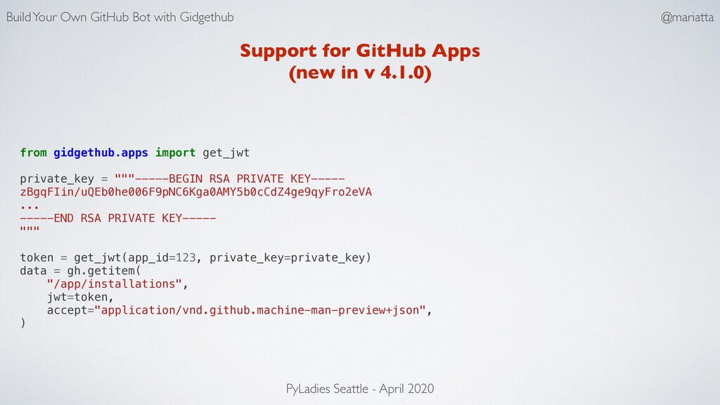 Support for GitHub Apps (new in v 4.1.0) from g...