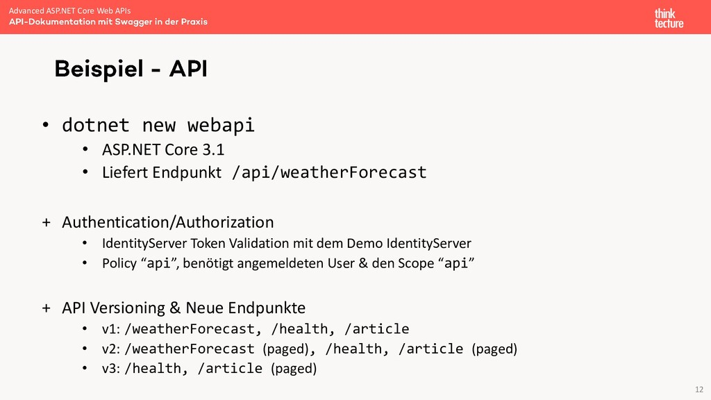 12 • dotnet new webapi • ASP.NET Core 3.1 • Lie...