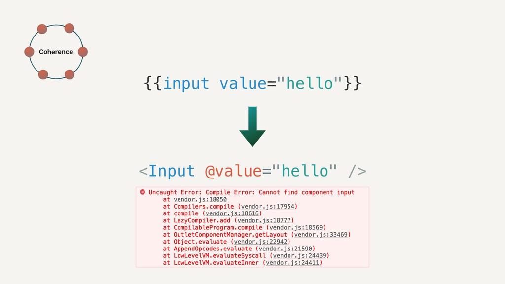 """{{input value=""""hello""""}} <Input @value=""""hello"""" /..."""