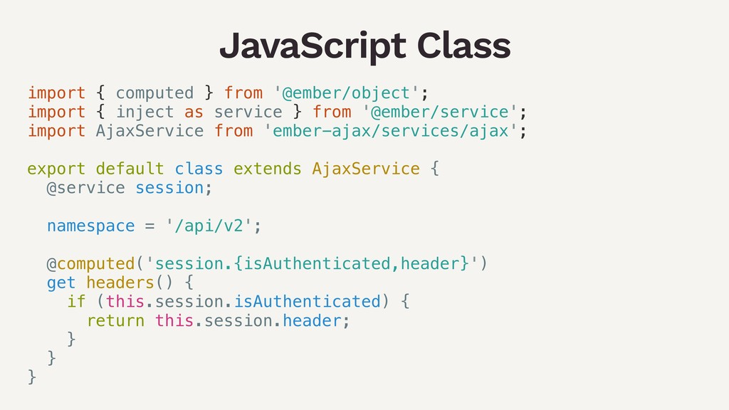 JavaScript Class import { computed } from '@emb...