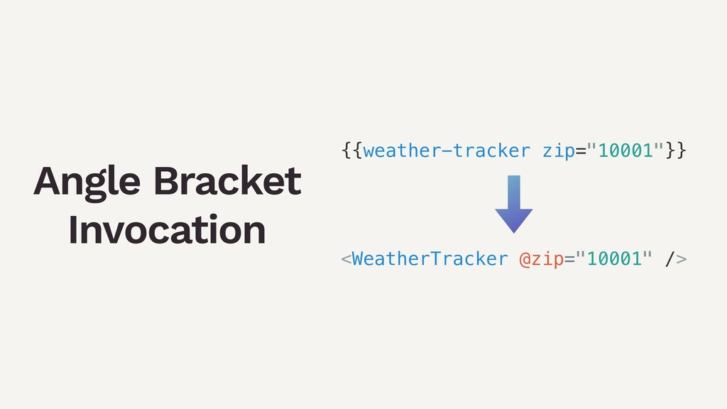 Angle Bracket Invocation {{weather-tracker zip=...