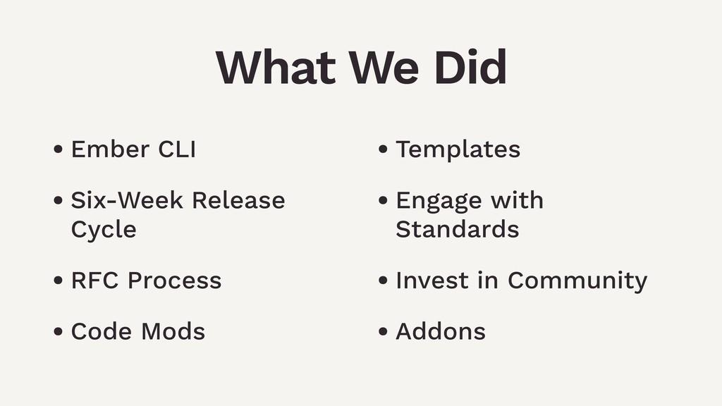 • Ember CLI • Six-Week Release Cycle • RFC Proc...